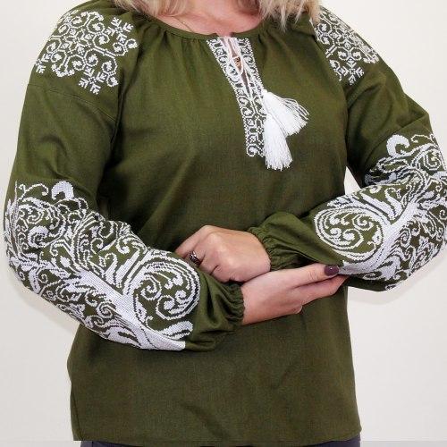 Вышиванка женская Ольга зеленый лен