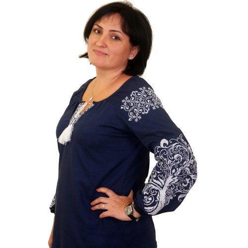 Вышиванка женская Ольга синий с белым