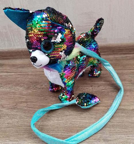 """Мягкая игрушка """"Собачка на поводке"""", лает, ходит, виляет хвостом, разноцветная"""