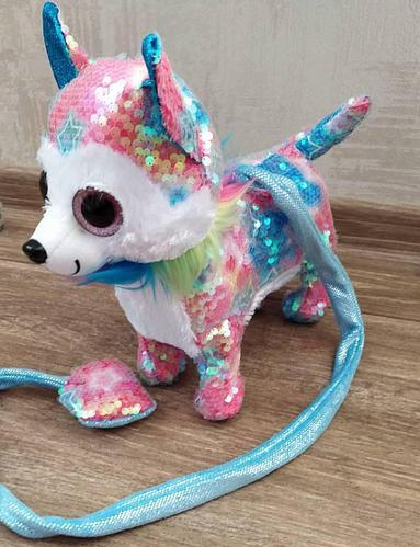 """Мягкая игрушка """"Собачка на поводке"""", лает, ходит, виляет хвостом, розово-голубая"""