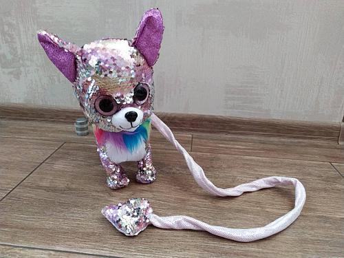 """Мягкая игрушка """"Собачка на поводке"""", лает, ходит, виляет хвостом, розово-белая"""