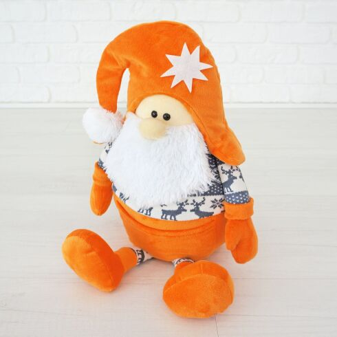 Мягкая игрушка Kidsqo гномик Санта 53см оранжево-серый (1771)