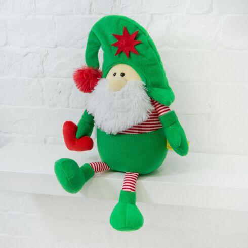 Мягкая игрушка Kidsqo гномик Санта с сердцем 32см зелёно-красный (625)