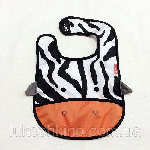 Слюнявчик детский Zoo Зебра черно-белая (2313-1)