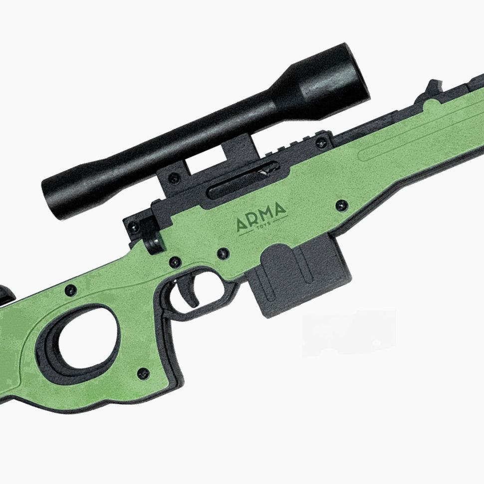 Деревянная модель винтовки AWP в сборе, стреляет резинками, складываются сошки