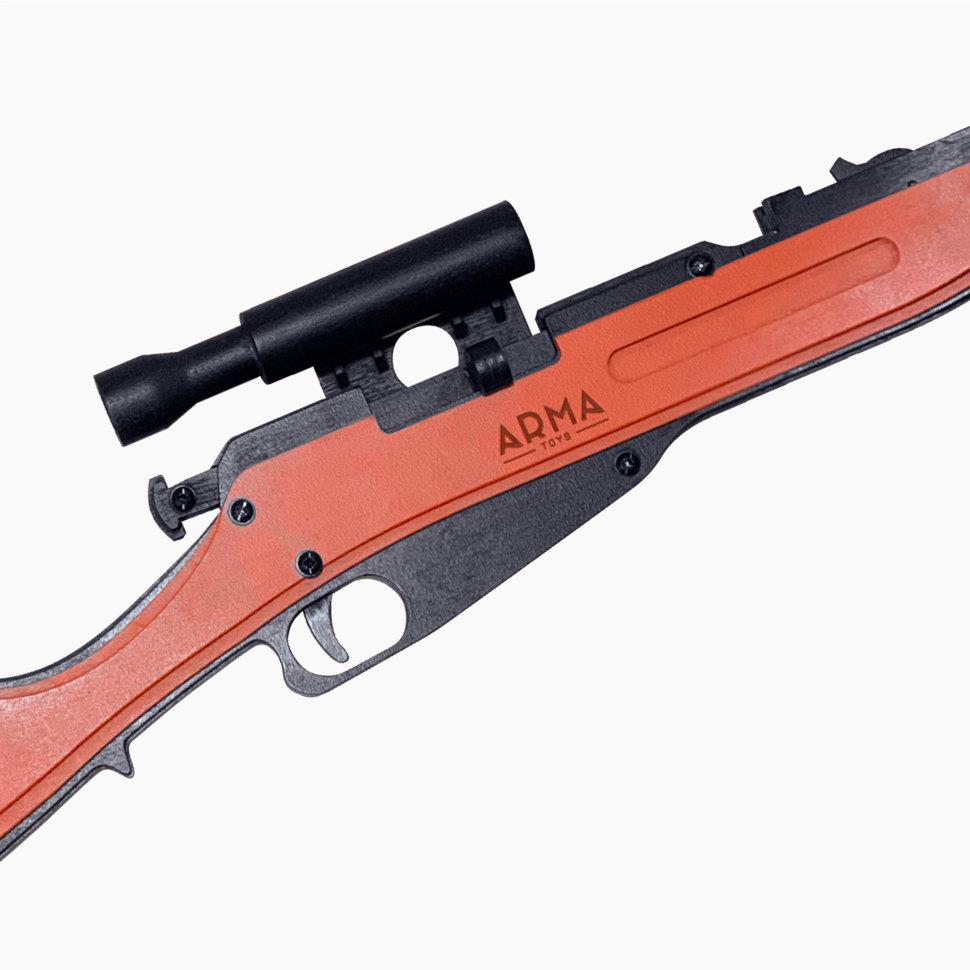 Игрушечная деревянная винтовка Мосина с оптическим прицелом, стреляет резинками, со штыком
