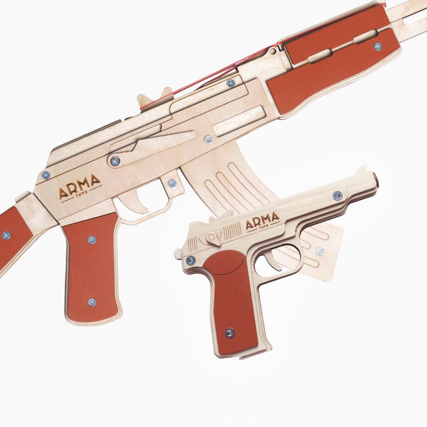 """Набор резинкострелов """"Военный специалист - 1"""": автомат + пистолет Стечкина АПС"""