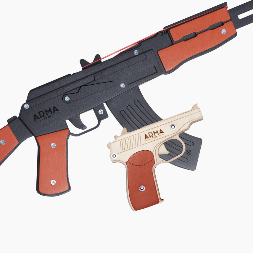 """Набор резинкострелов """"Красная угроза - 2"""": автомат черный + ПМ"""