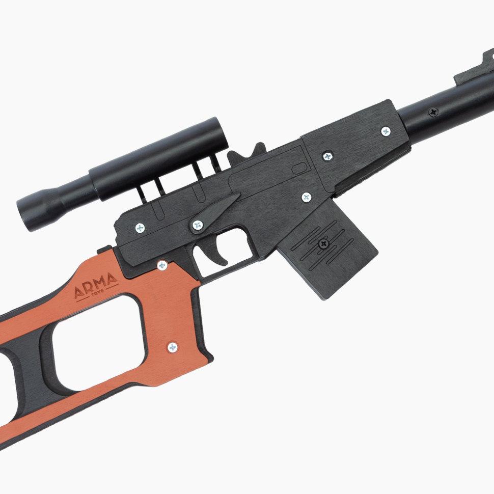 Деревянная снайперская винтовка с прицелом в сборе (ВСС, Винторез), стреляет резинками, черная