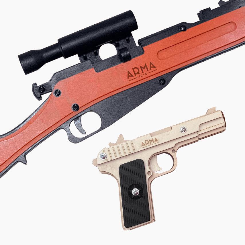 Набор резинкострелов Советский снайпер - 1: трехлинейка Мосина и пистолет Токарева