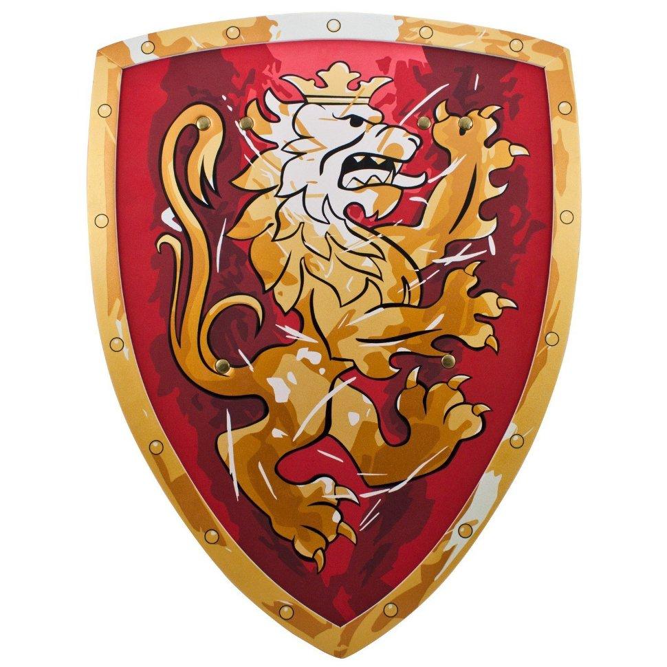 Красный щит с коронованным золотым львом