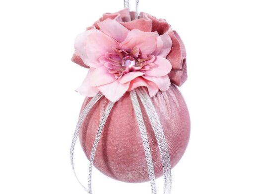 Елочный шар с цветочной геометрией розовая жемчужина 8см