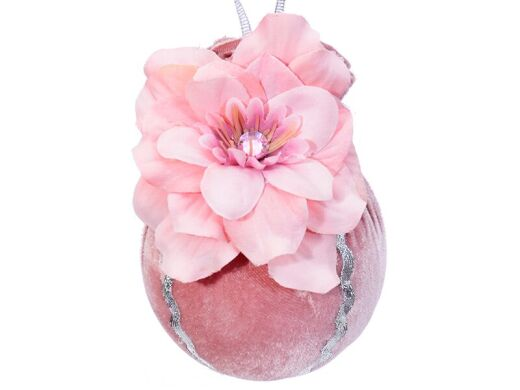 Елочный шар ø 8 см цветочное сияние розовая жемчужина