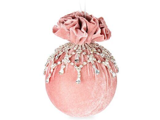 Елочный шар с ажурным украшением розовая жемчужина 10см
