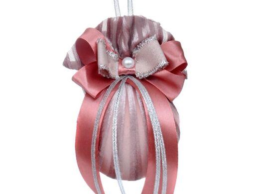 Елочный шар ø 8 см с двойным бантом и жемчужиной розовая жемчужина