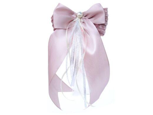 Елочное украшение бант атласный с жемчужиной розовая жемчужина