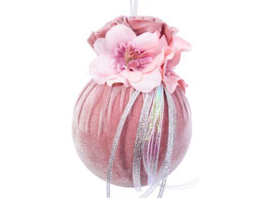 Елочный шар с цветочной симметрией розовая жемчужина 10см