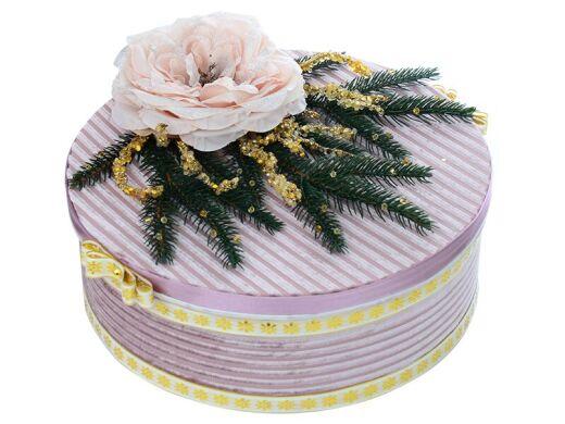 Коробка подарочная круглая со светлым цветком розовая жемчужина