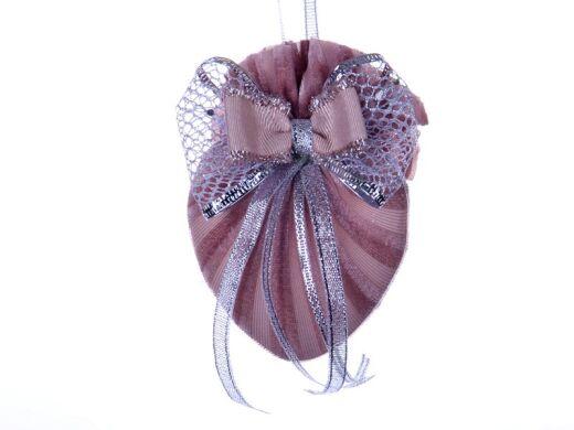Елочное украшение сердце с двойным бантом розовая жемчужина