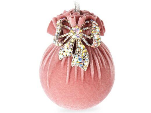 Елочный шар с серебряным бантом розовая жемчужина 10см