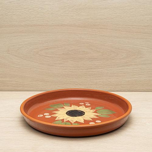 Блюдо глиняное 25см, глазурь, художественная роспись