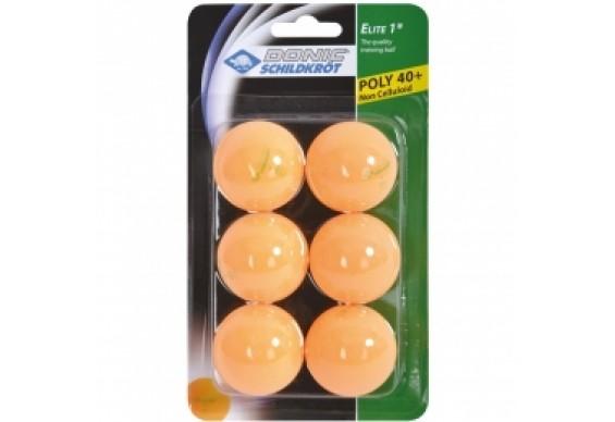 Мячики для настільного тенісу Donic-Schildkrot 1* ELITE 40+ plastic 6шт, оранжеві (60-8518)
