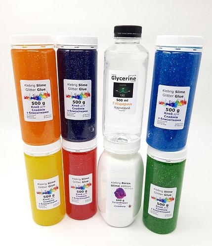 Набор для создания Слаймов 6 цветов клея, Боракс и Глицерини