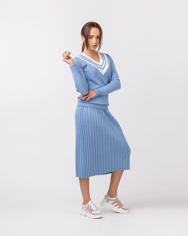Комплект юбка-плиссе и свитер Colorblock в Голубом цвете