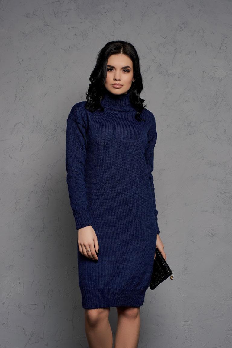Платье-свитер из шерсти в цвете Синий