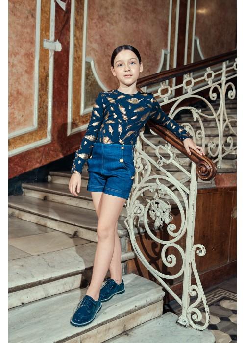 Гольф Барби темно-синий с принтом золотые пёрышки