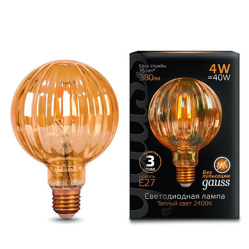 Лампа Gauss LED Filament G100 Baloon E27 4W Golden
