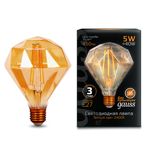Лампа Gauss LED Filament Diamond E27 5W Golden