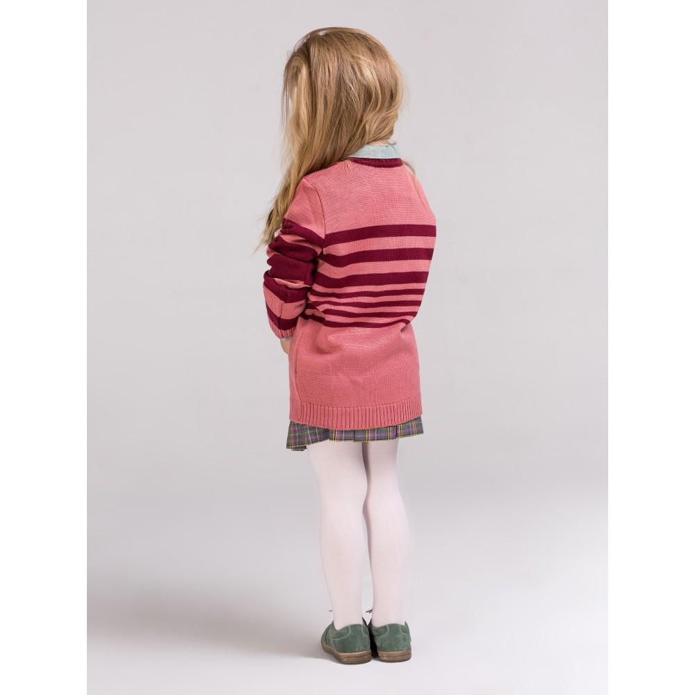 Свитшот плетеный полосатый красно-розовый