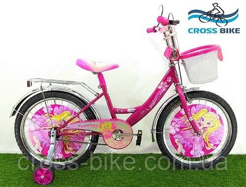 Детский двухколесный велосипед Azimut Принцесса 12 дюймов азимут для девочки с корзинкой для игрушек