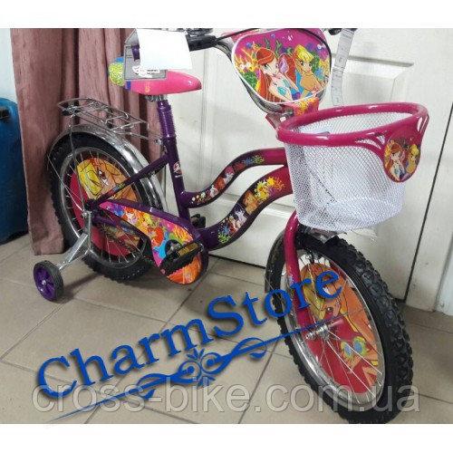 Детский двухколесный велосипед Azimut Винкс 12 дюймов с корзинкой для игрушек