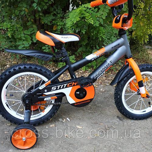 """Детский двухколесный велосипед Azimut 12"""" Stitch Стич Азимут для мальчика 2-3 года"""