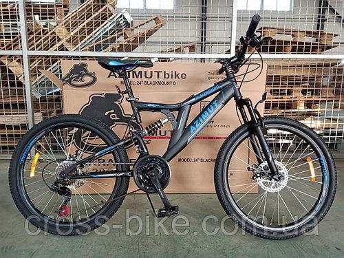 Подростковый спортивный велосипед Azimut Blackmount 24 дюймы Азимут Блакмаут горный велосипед +