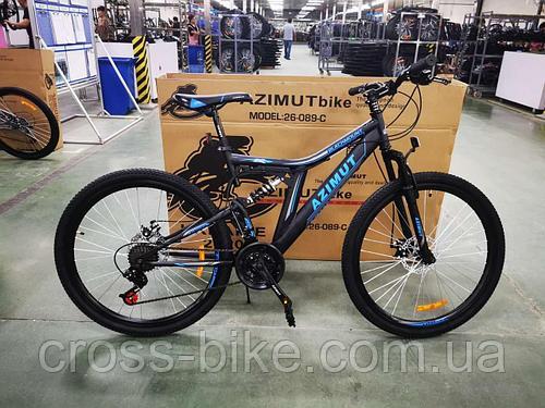 Взрослый спортивный горный велосипед Azimut Blackmount 26 дюймы рама 18
