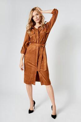 Замшевое платье-рубашка