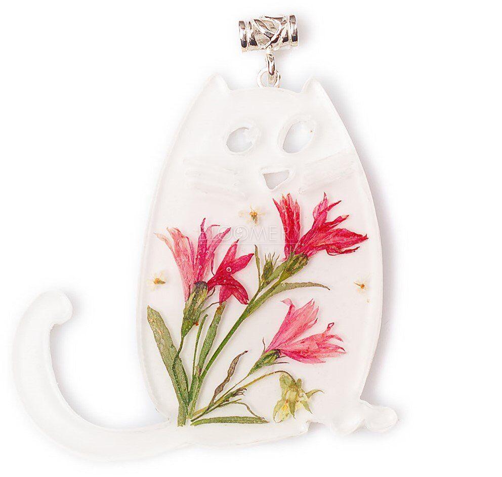 """Красивый и оригинальный подарок. Кулон """"Кот-Пузатик"""" с васильками. Живые цветы в ювелирных изделиях"""