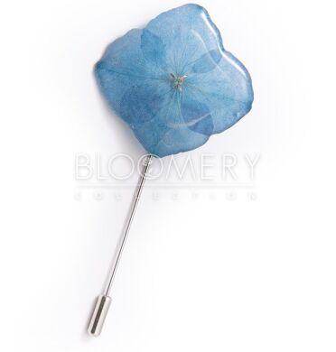 Брошь-иголка c голубой гортензией