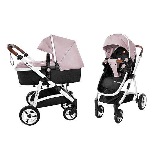 Коляска универсальная для детей с рождения CARRELLO Fortuna CRL-9001/1 Coral Pink 2в1 c матрасом