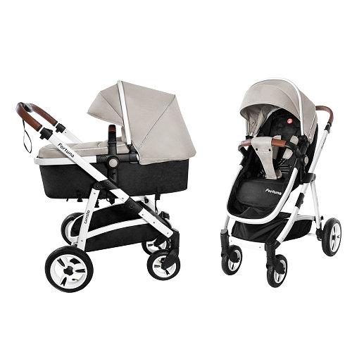 Коляска универсальная для детей с рождения CARRELLO Fortuna CRL-9001/1 Peanut Beige 2в1 c матрасом