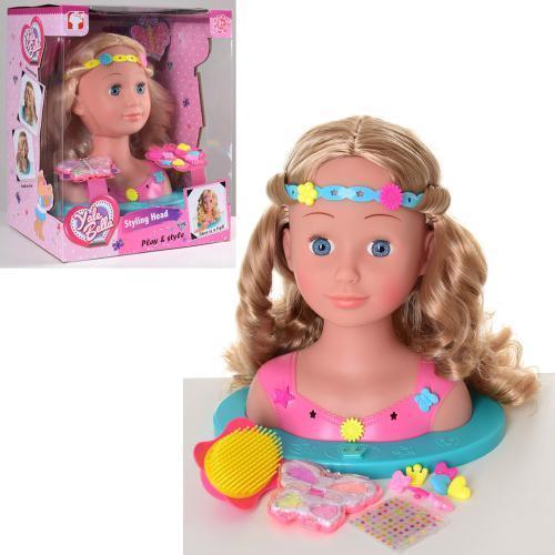 Кукла-манекен для причесок. Качественные волосы. Заколки и резинки. Расческа. арт. 888