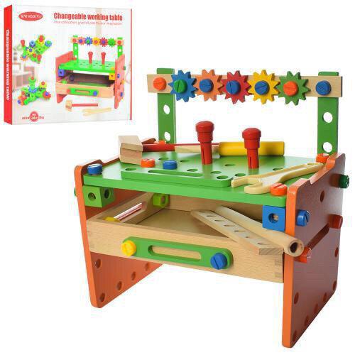 Деревянный конструктор для мальчика от 3 лет. Инструменты на стойке. Яркие цвета. Эко материалы. арт. 015