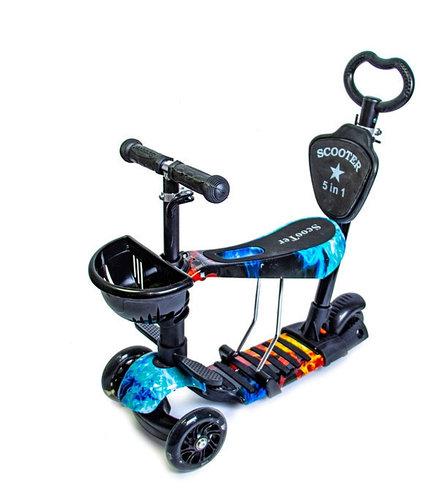 Самокат - беговел 5 в1 Best Scooter с родительской ручкой и подножками арт. 21500