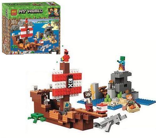 """Конструктор для мальчиков """"Приключения на пиратском корабле"""" Bela Minecraft. 404 детали. Как LEGO. арт. 11170"""