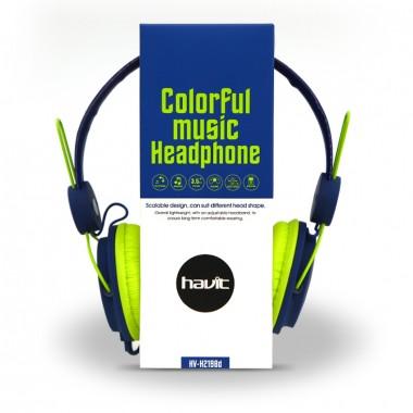 Наушники HAVIT HV-H2198D с микрофоном сине-зеленые