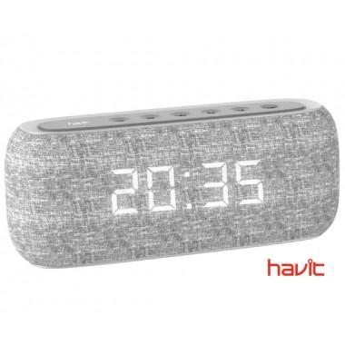 Портативная колонка HAVIT HV-M29BT с FM-радио, часами и стереозвуком, серая (24587)