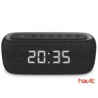 Портативная колонка HAVIT HV-M29BT с FM-радио, часами и стереозвуком, черная (24667)